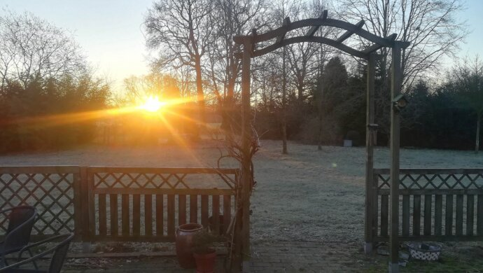 zonsopkomst in de achtertuin